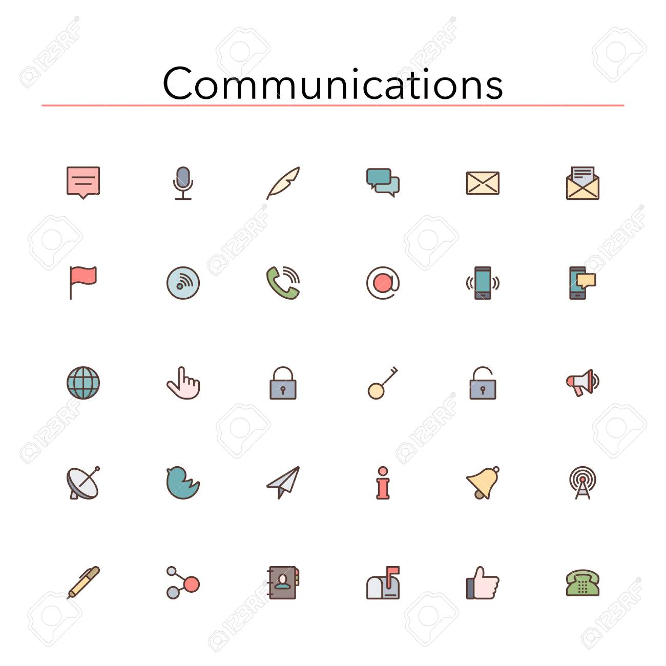 Social and communications colored line icons set. - 35761133