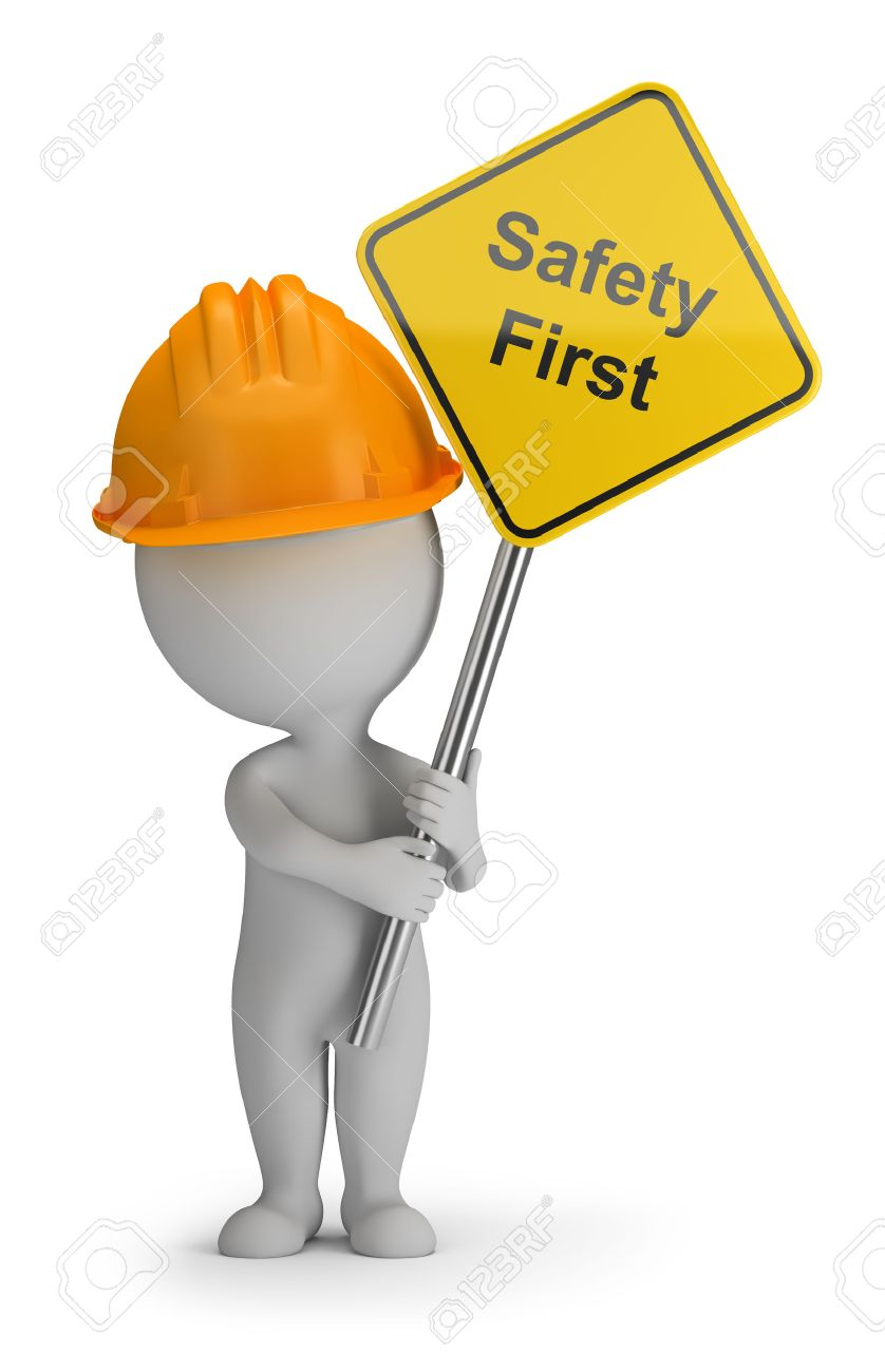 3d small person holding a sign with the inscription safety first