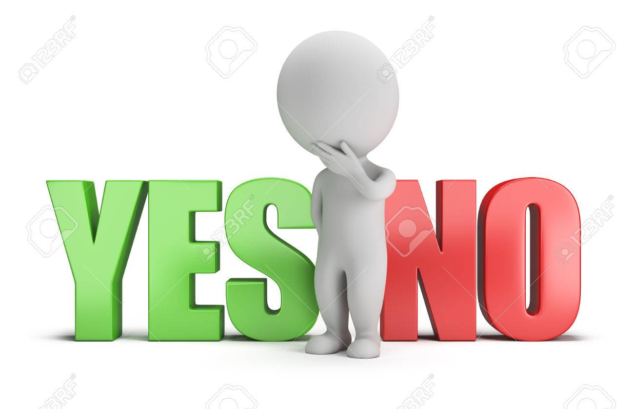 3d small person standing between the words yes and no. 3d image. White background. - 43282809