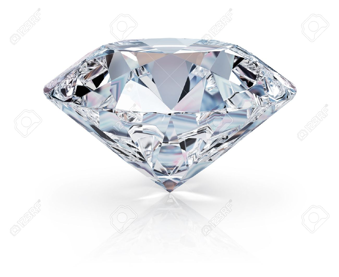 A beautiful sparkling diamond on a light reflective surface. 3d image. Isolated white background. - 43335631