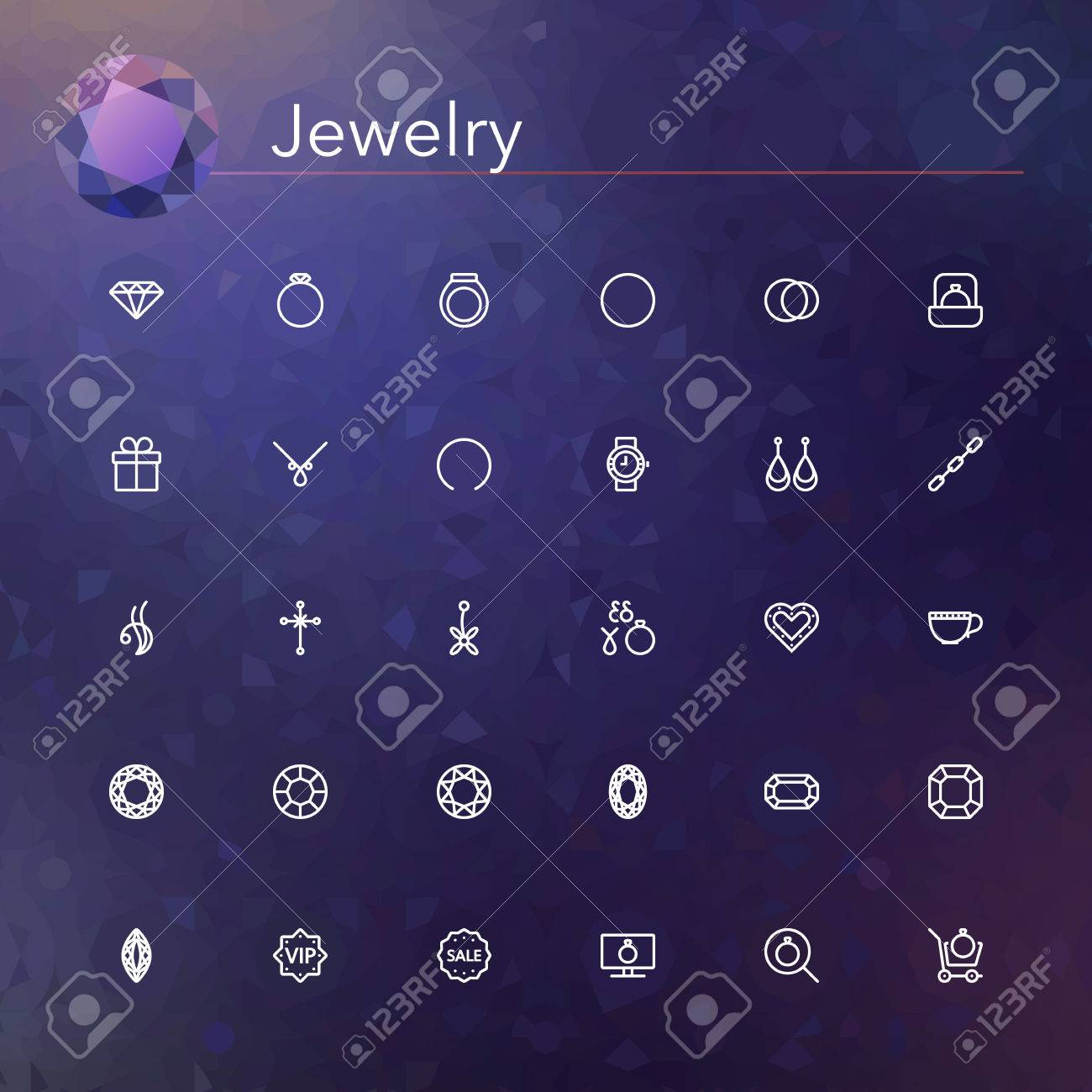 Jewelry line icons set. Vector illustration. - 44376781