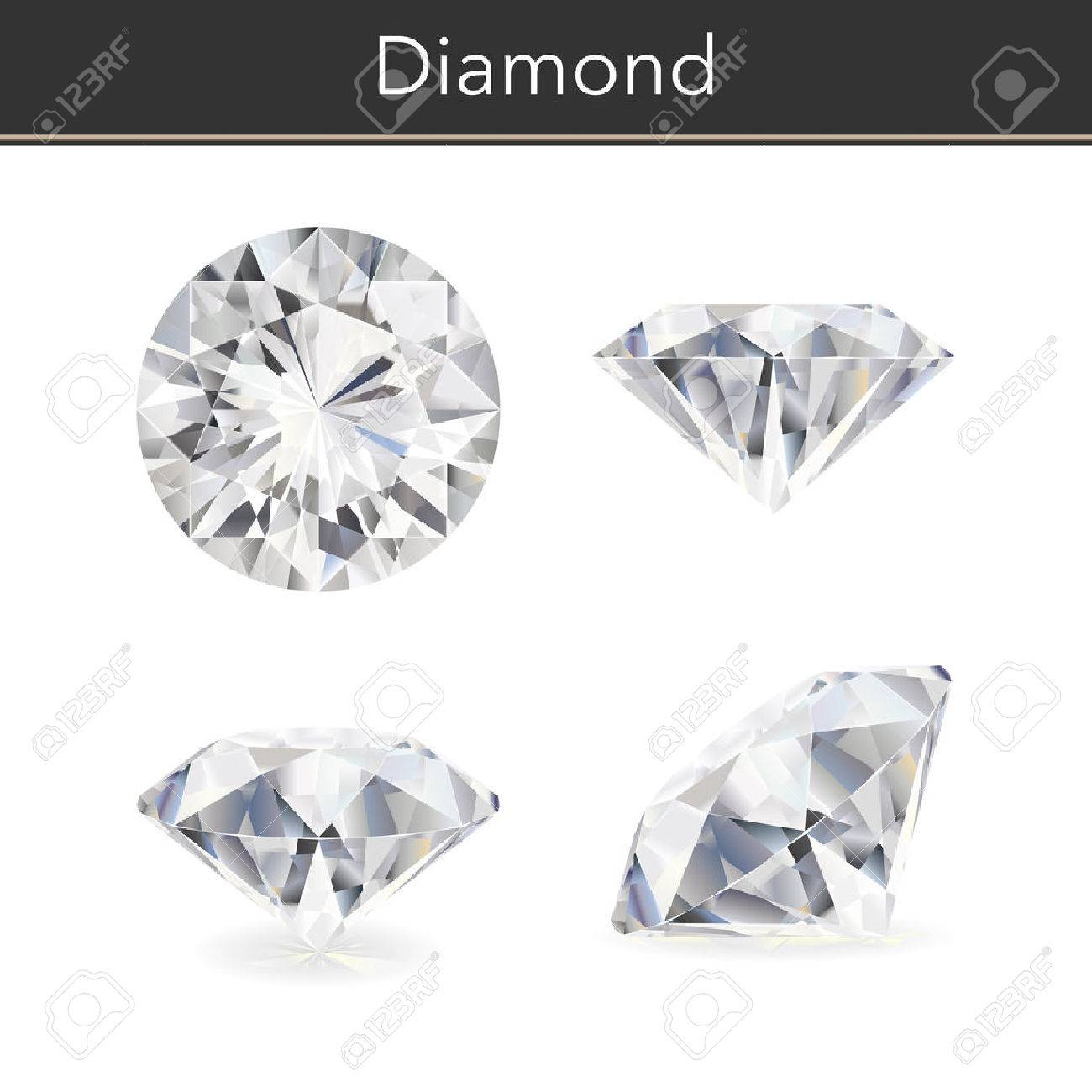 Vector photorealistic illustration of a diamond. Isolated white background. - 54246478
