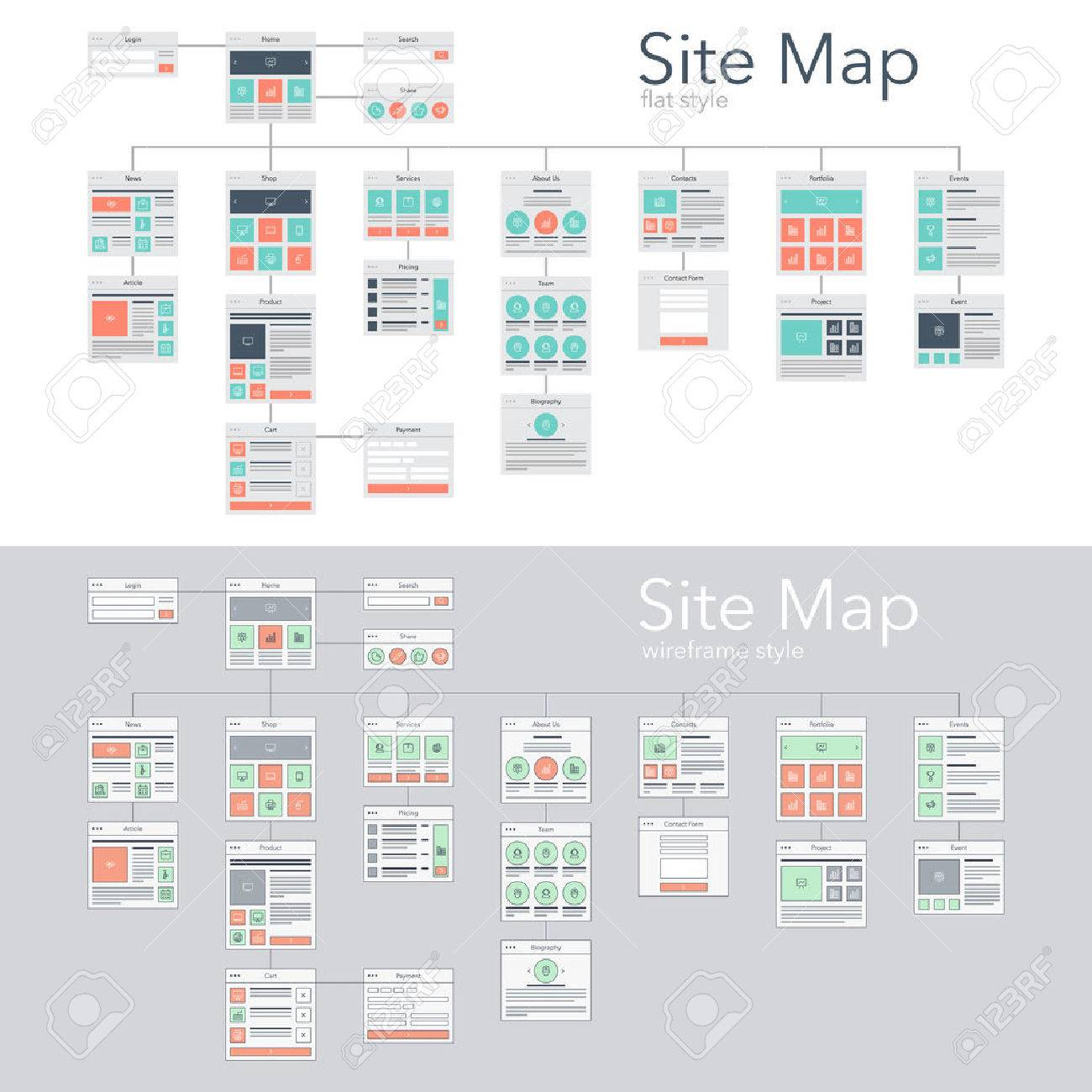 Flat and wireframe design style vector illustration concept of website flowchart sitemap. - 54246490