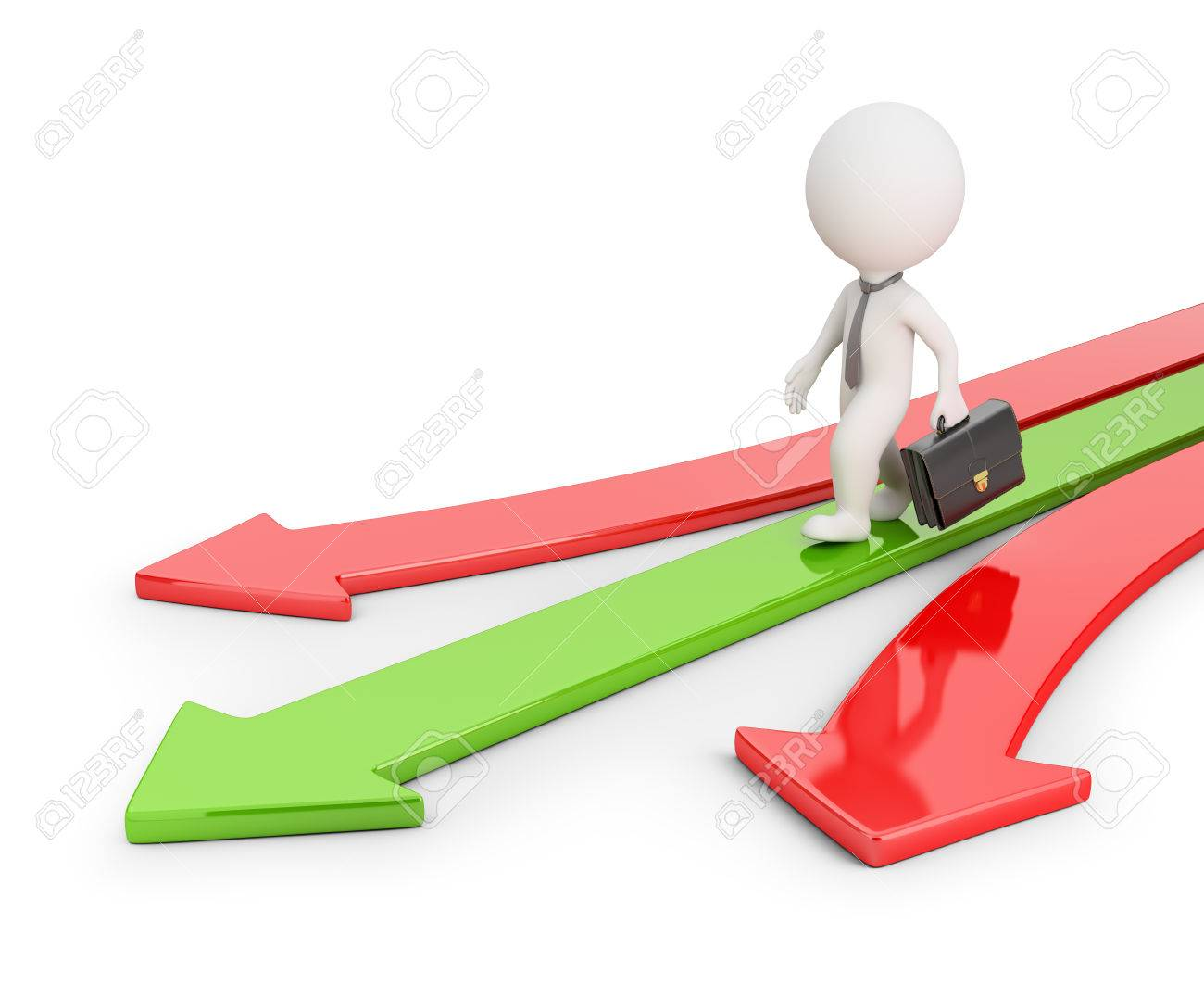 3d small businessman walking on a green arrow. 3d image. White background. - 54881809