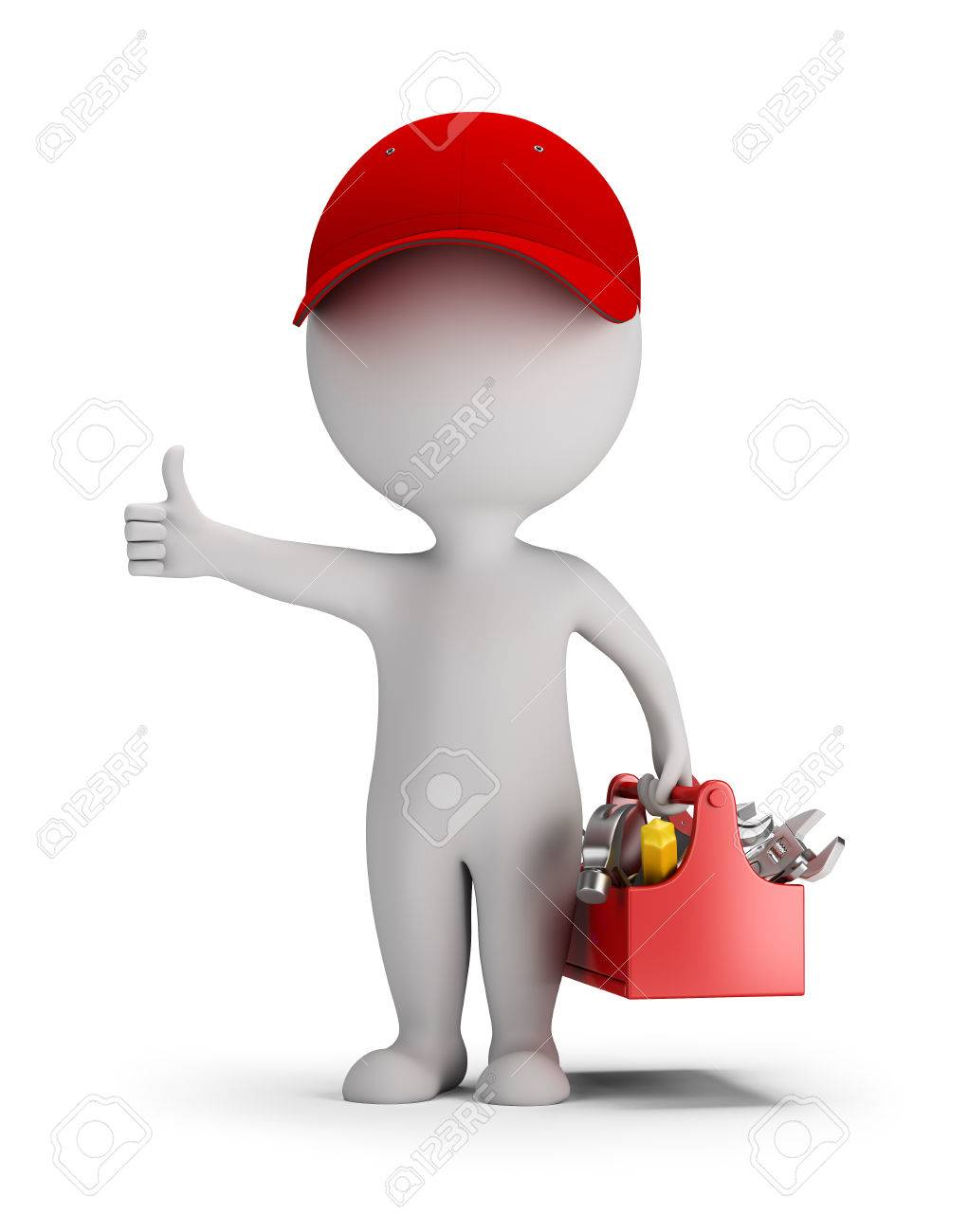 3d small person - mechanic with tool box. Thumb up. 3d image. White background. - 56414195