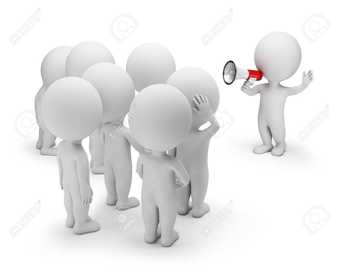 3d small person talking on a megaphone to the crowd. 3d image. White background. - 56414196