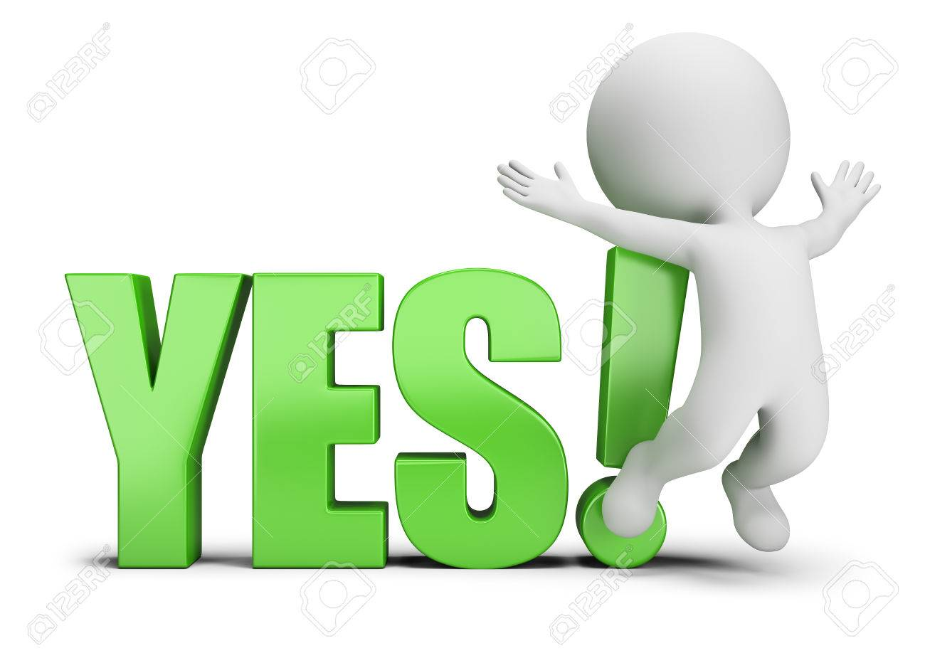 3d small person jumping next to yes 3d image white background