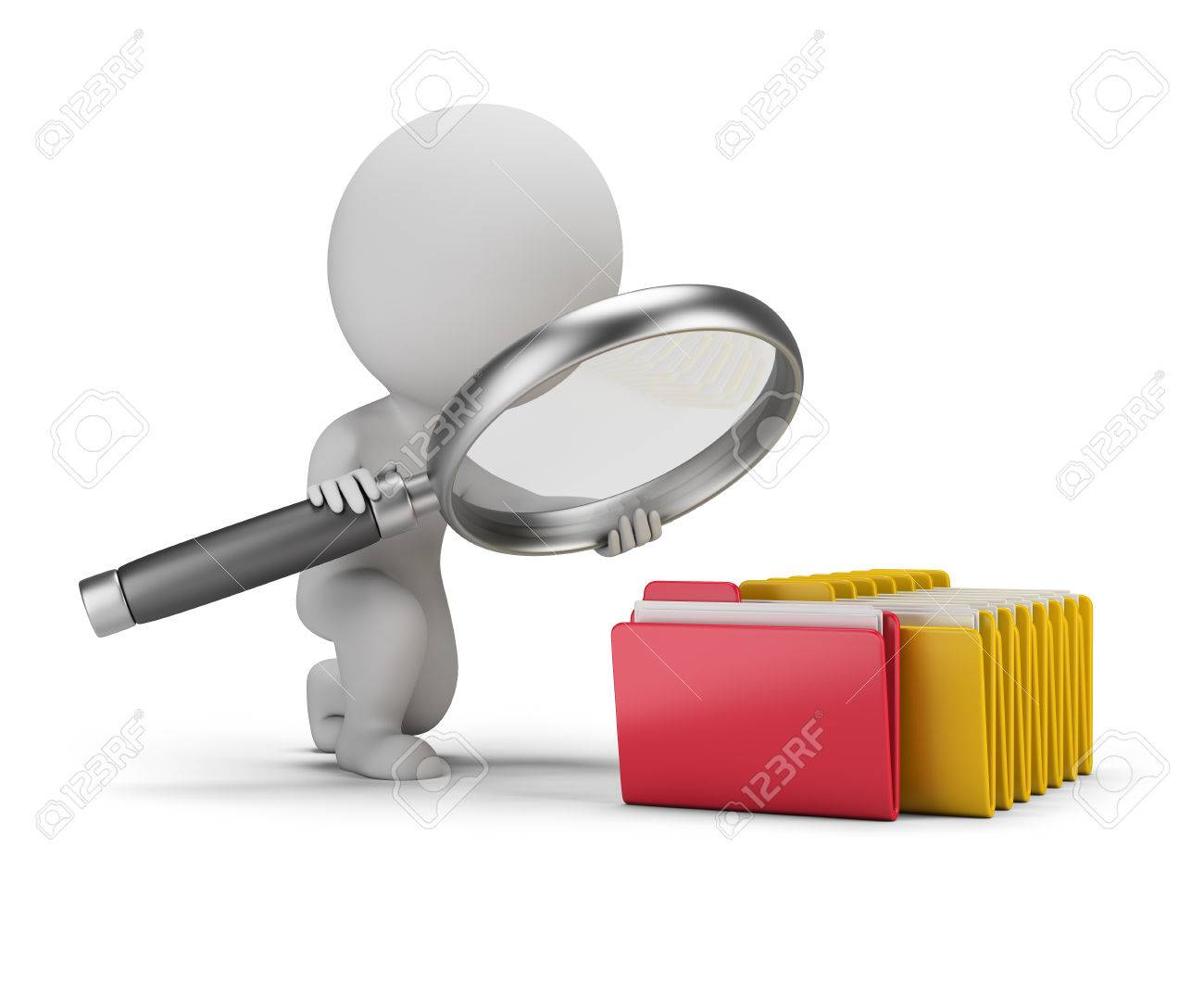 3d small person with a big magnifying glass looks for documents in folders. 3d image. White background. - 61288837