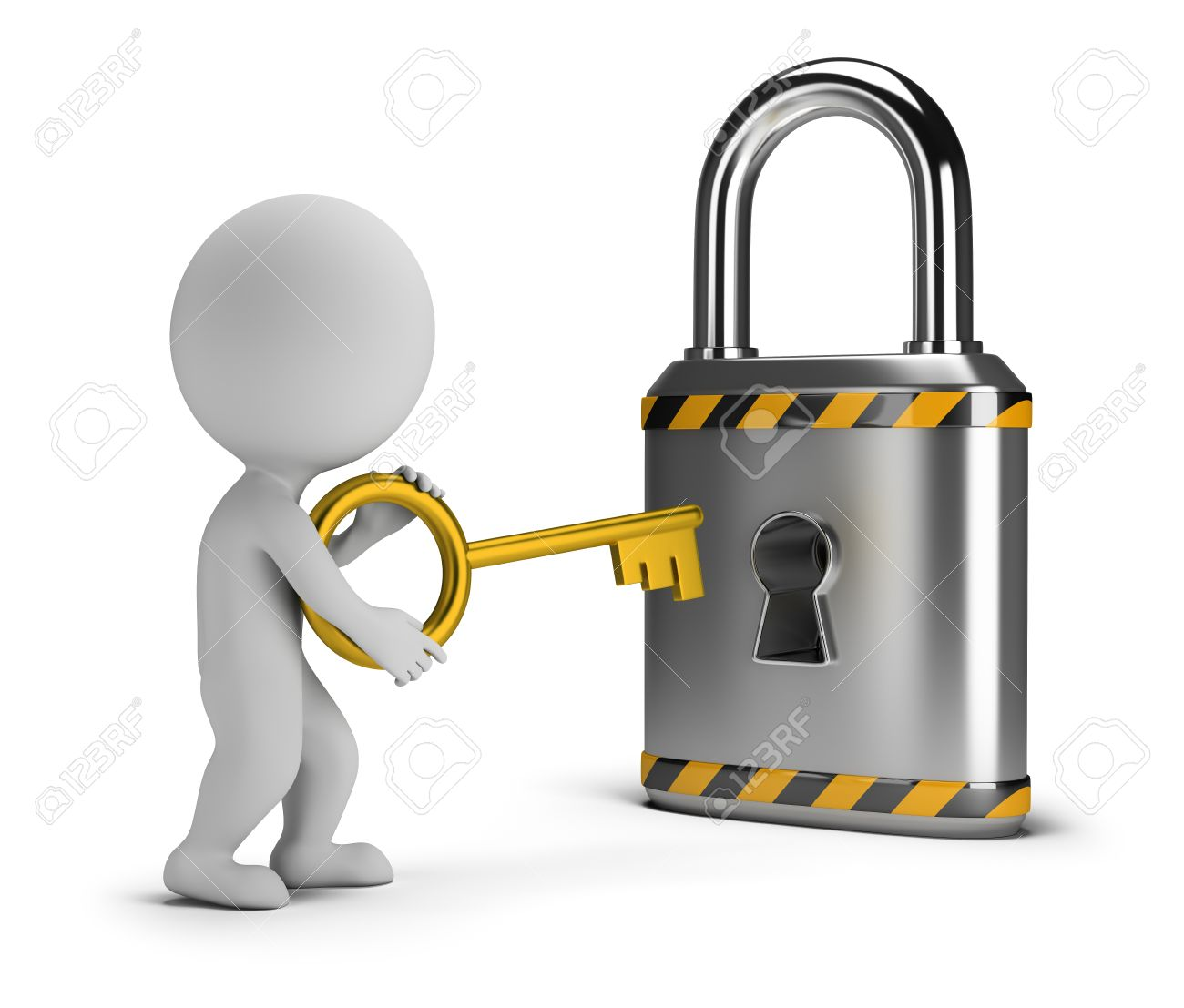 3d small person with a key lock. 3d image. White background. - 61289187
