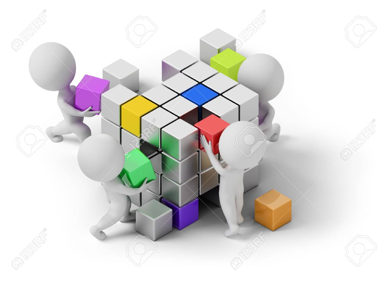 isometric people - concept of creating. 3d image. White background. Stock Photo - 69567600