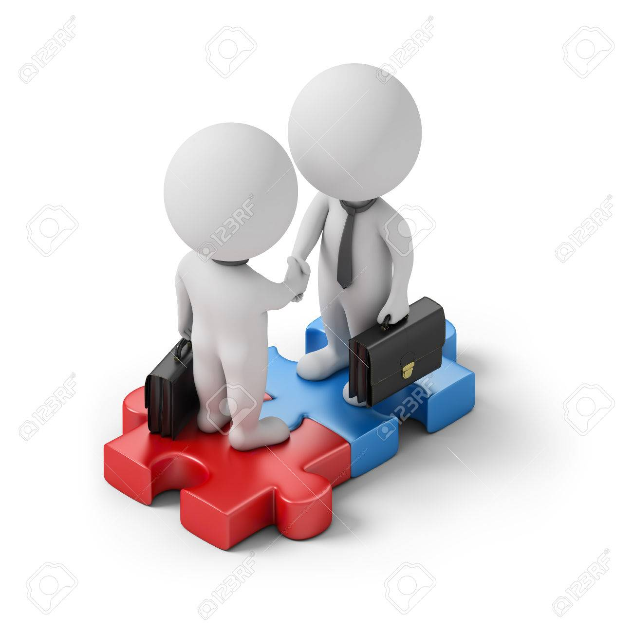Isometric business people standing on the puzzle and make a handshake. 3d image. White background. - 69709540