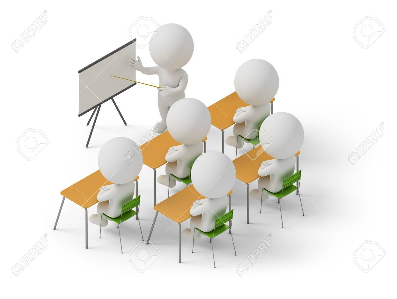 Isometric people studying in training courses. 3d image. White background. Stock Photo - 70408864