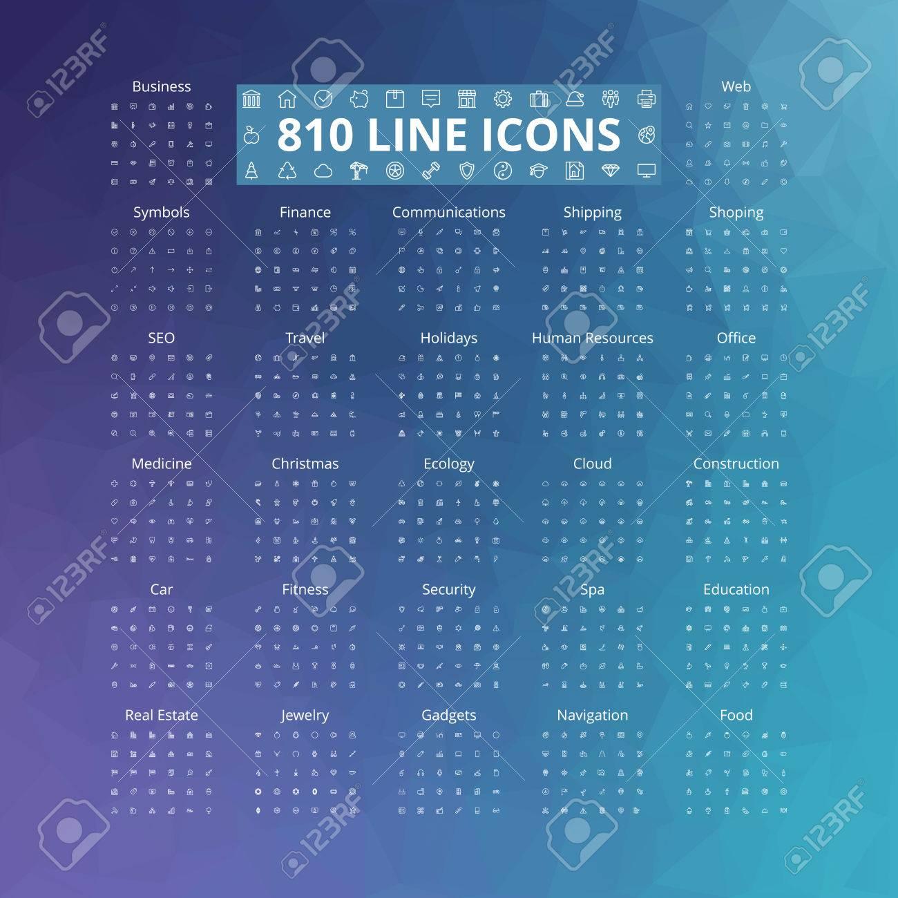 810 line icons set. Vector illustration. Geometric background. - 74523043