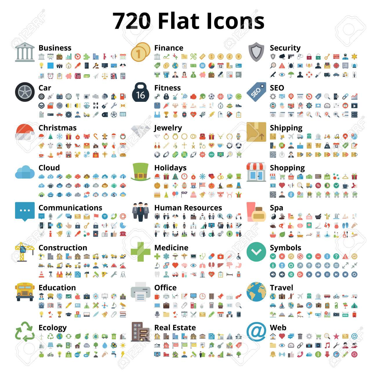 720 flat icons set. Vector illustration. - 75318301