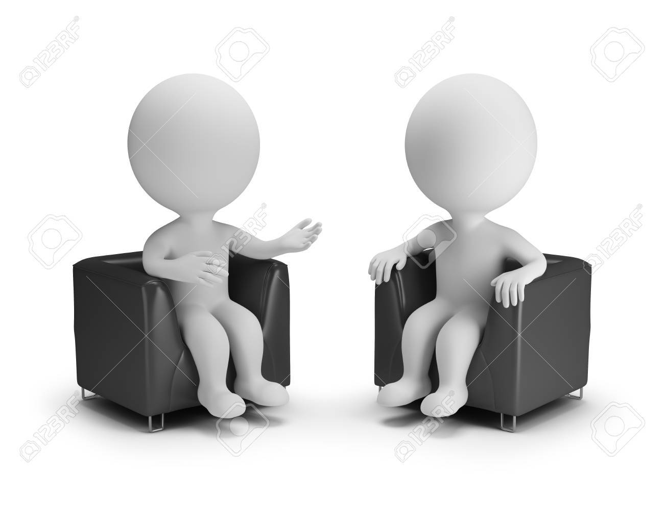Two 3d people in armchairs chat. 3d image. White background. - 87275609