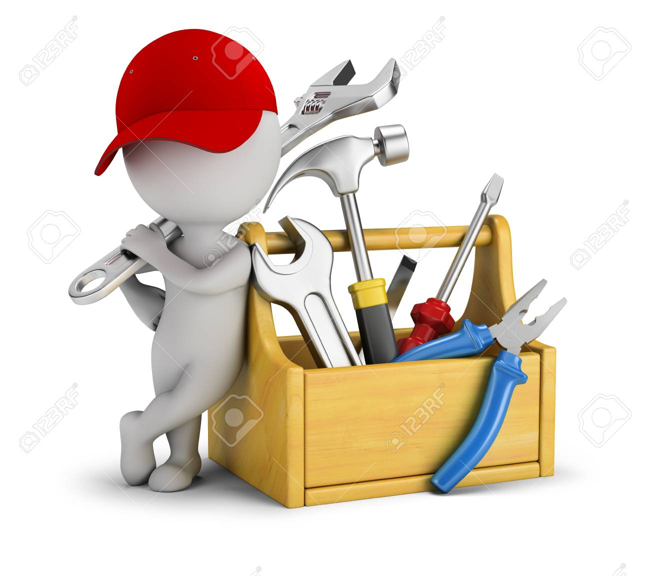 3d small people - repairman near the toolbox. 3d image. White background. - 94928555