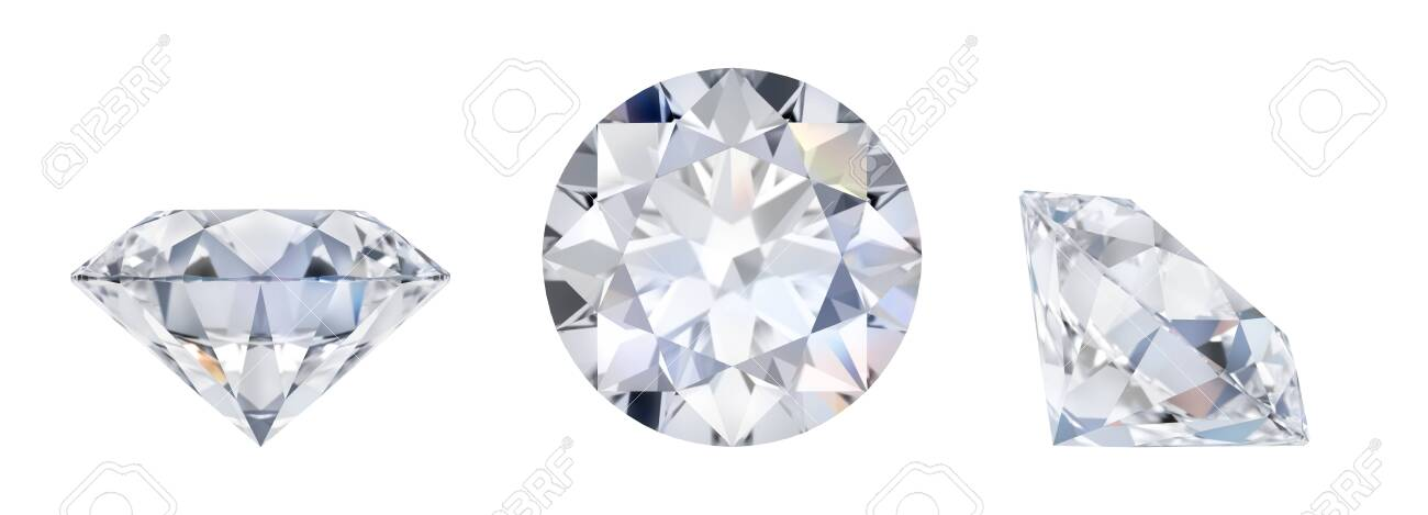 3d diamond in three dimensions. Side view, lying and top. 3d image. Isolated white background. - 122856074