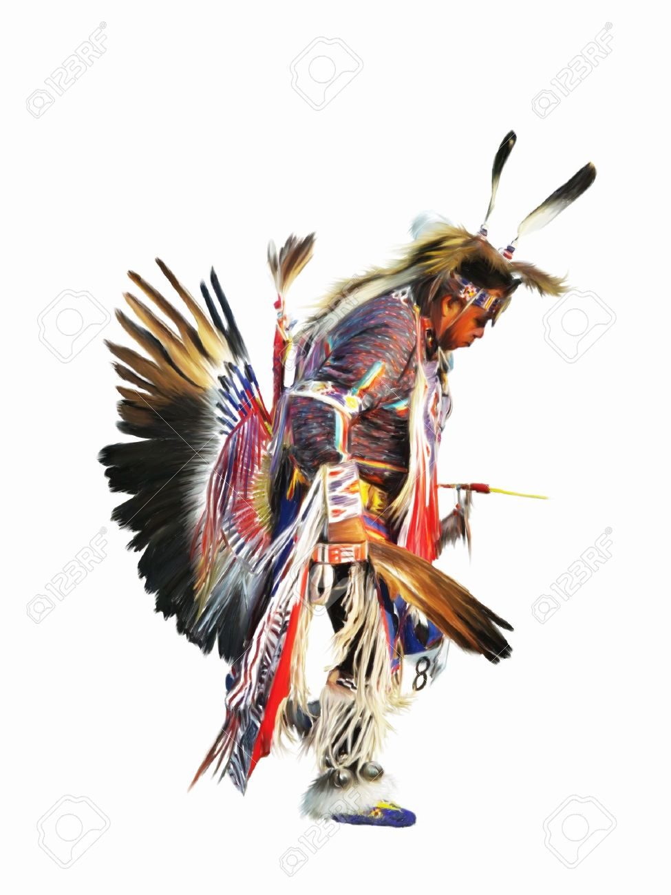sundancer digital painting of a native american indian pow wow