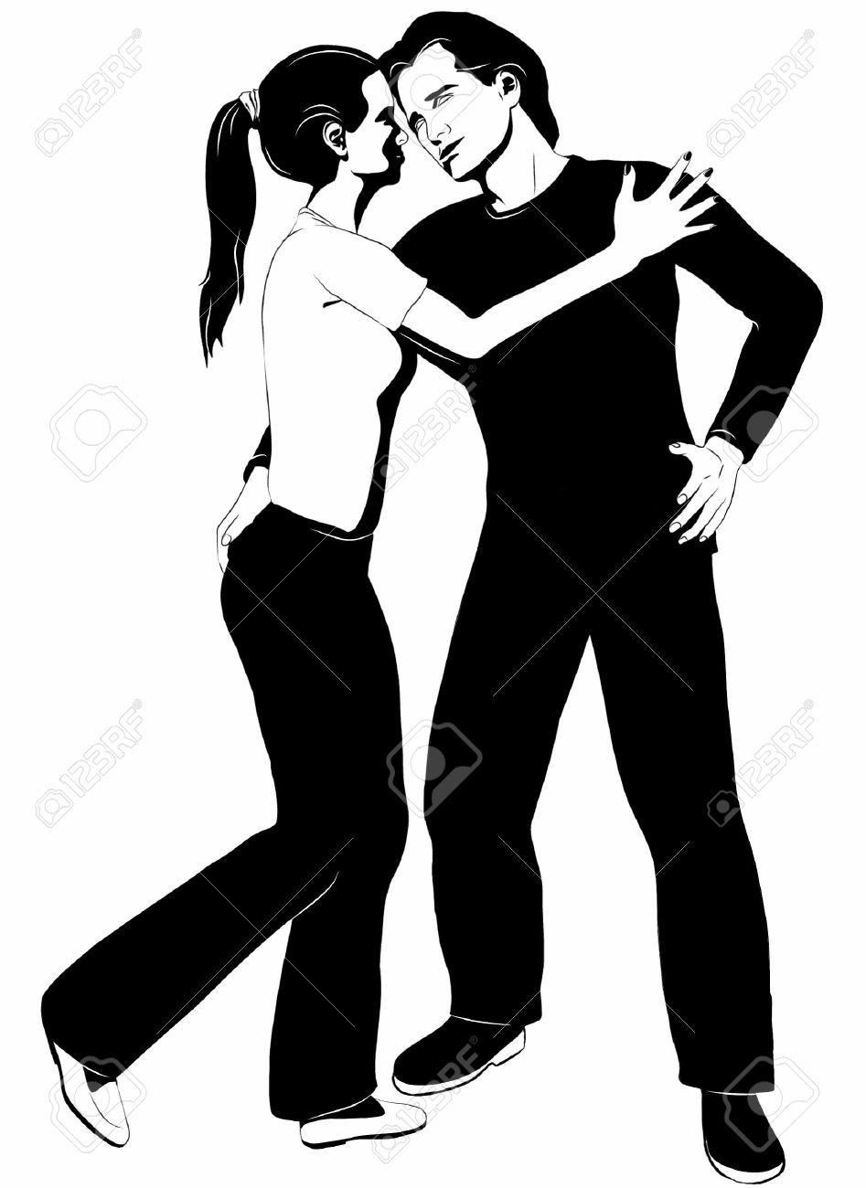 Black and white clipart drawing of a romantic couple in love