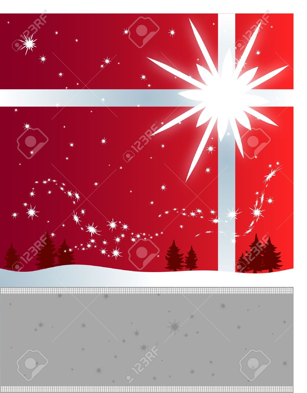 winter holiday flyer background with a bright star and snowflakes