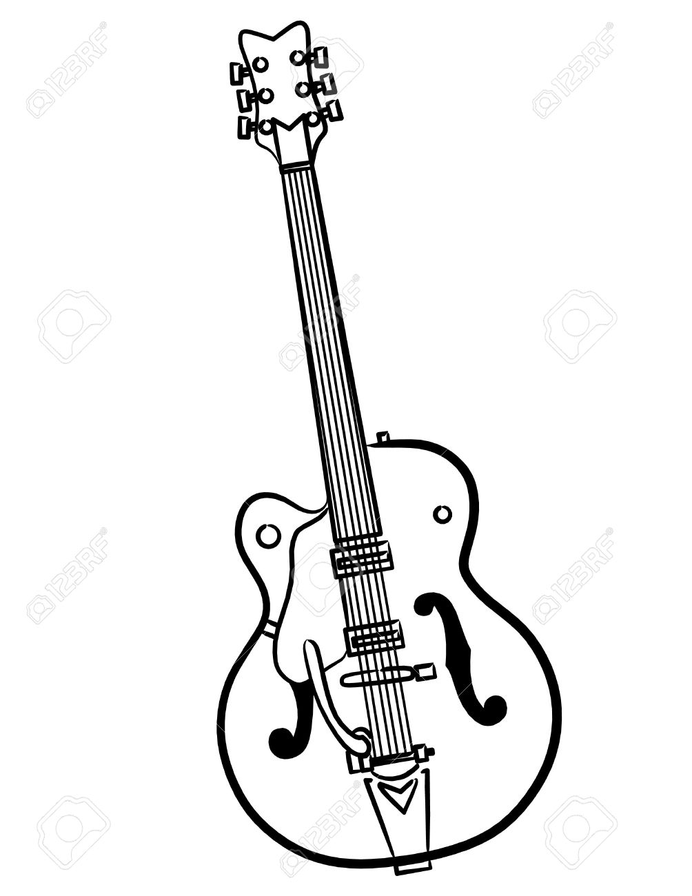 A Simple Electric Guitar Line Art Illustration Stock Photo, Picture ...