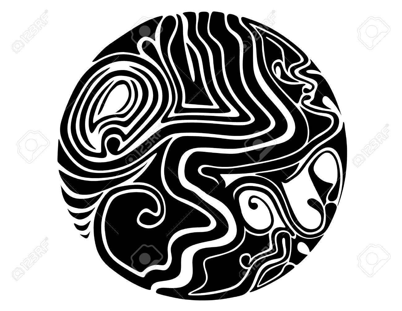 A Black And White Abstract Spherical Abstract Design Symbol Stock