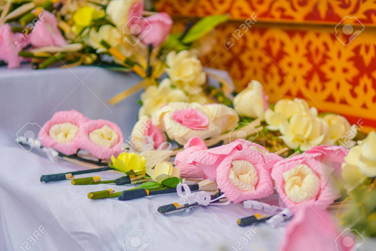 Thai funeral flower artificial flower used for cremationon stock stock photo thai funeral flower artificial flower used for cremationon coffin at funeral izmirmasajfo