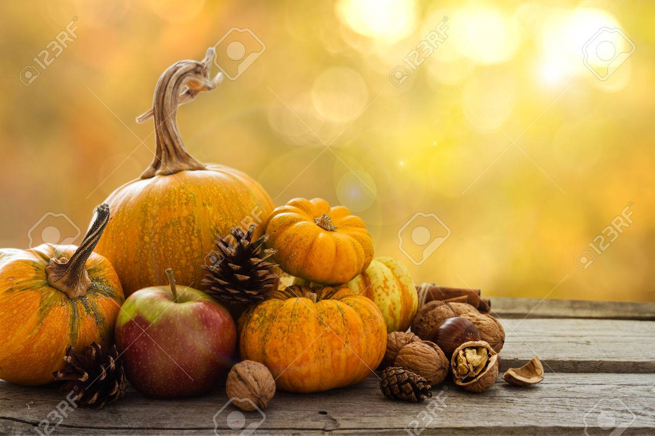Autumn Nature Concept Fall Fruit And Vegetables On Wood Thanksgiving Dinner Blur Background