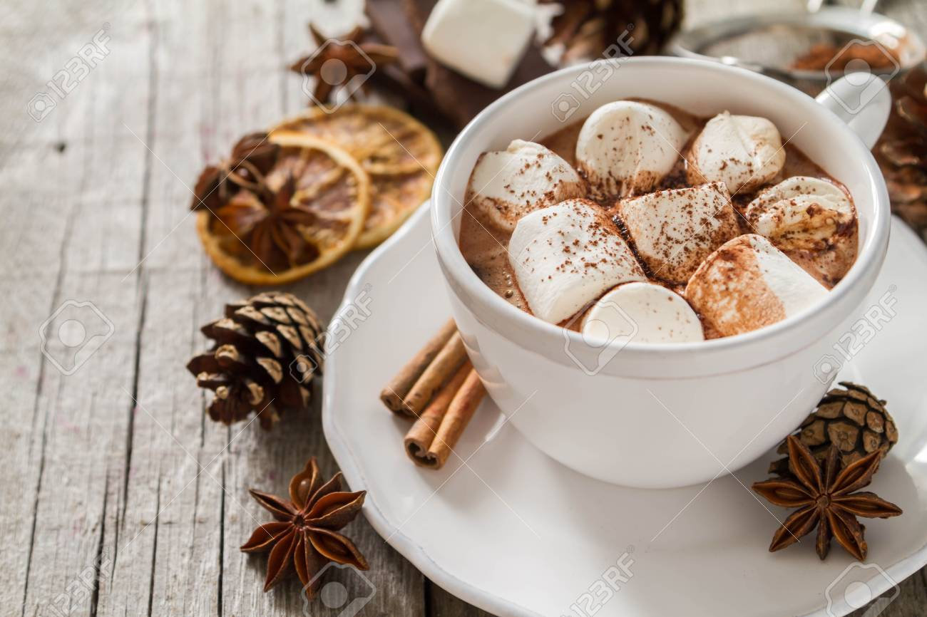 Hot chocolate with marshmallows in white cup Stock Photo - 48433505