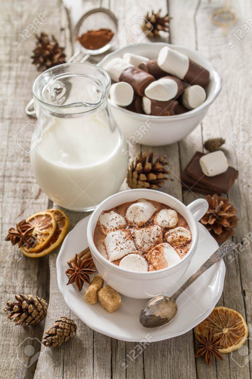 Hot chocolate with marshmallows in white cup Stock Photo - 48433516