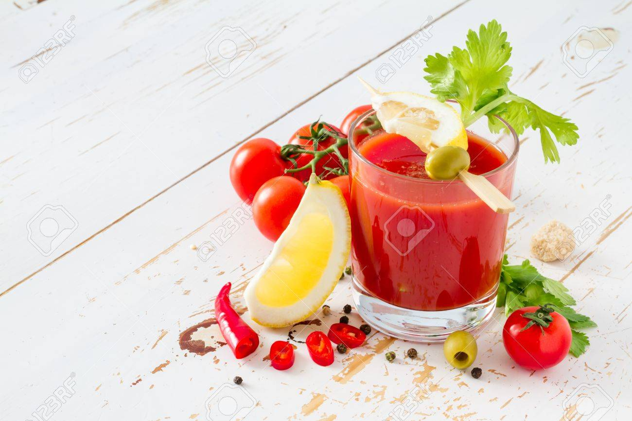 Bloody Mary ingredients on white wood background, closeup Stock Photo - 48450714