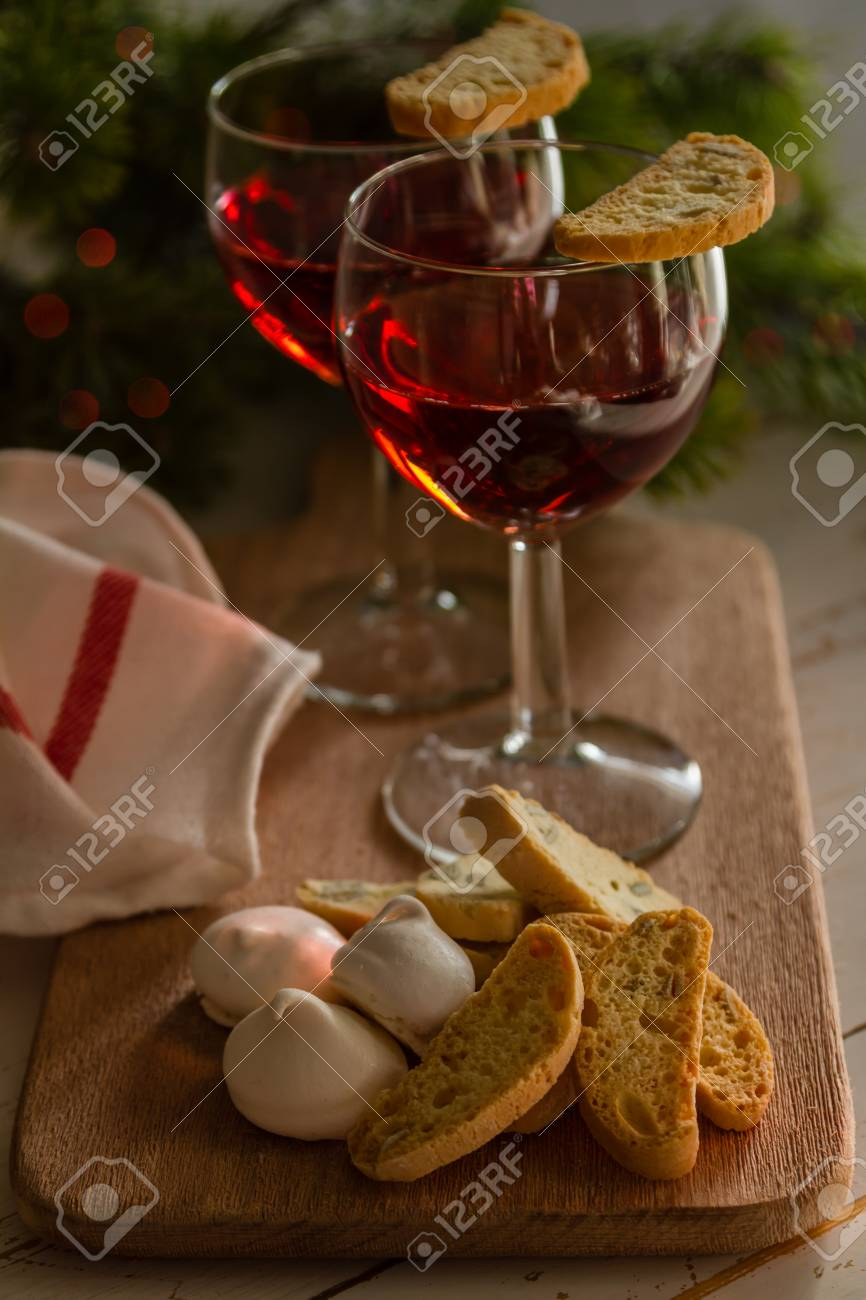 Traditional Italian Cookies Served With Wine Christmas Tree