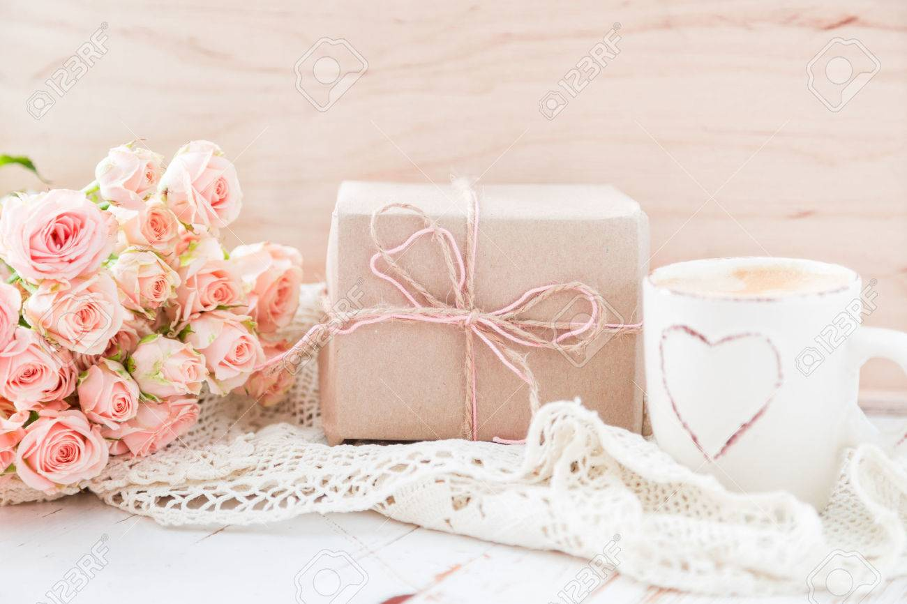 Mothers day concept - coffee present and roses copy space Stock Photo - 54514967