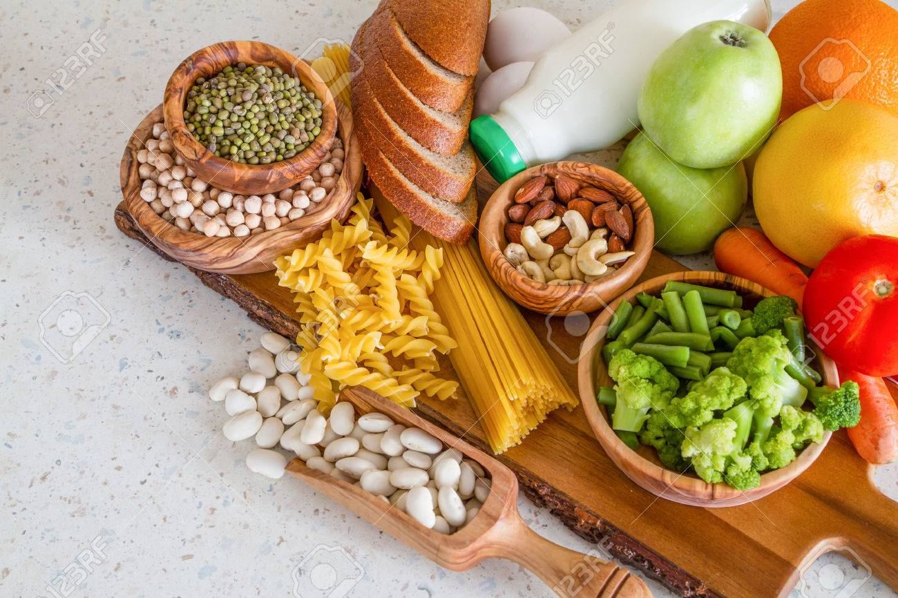 Selection of nutrients for vegetarian diet, copy space Stock Photo - 54514931