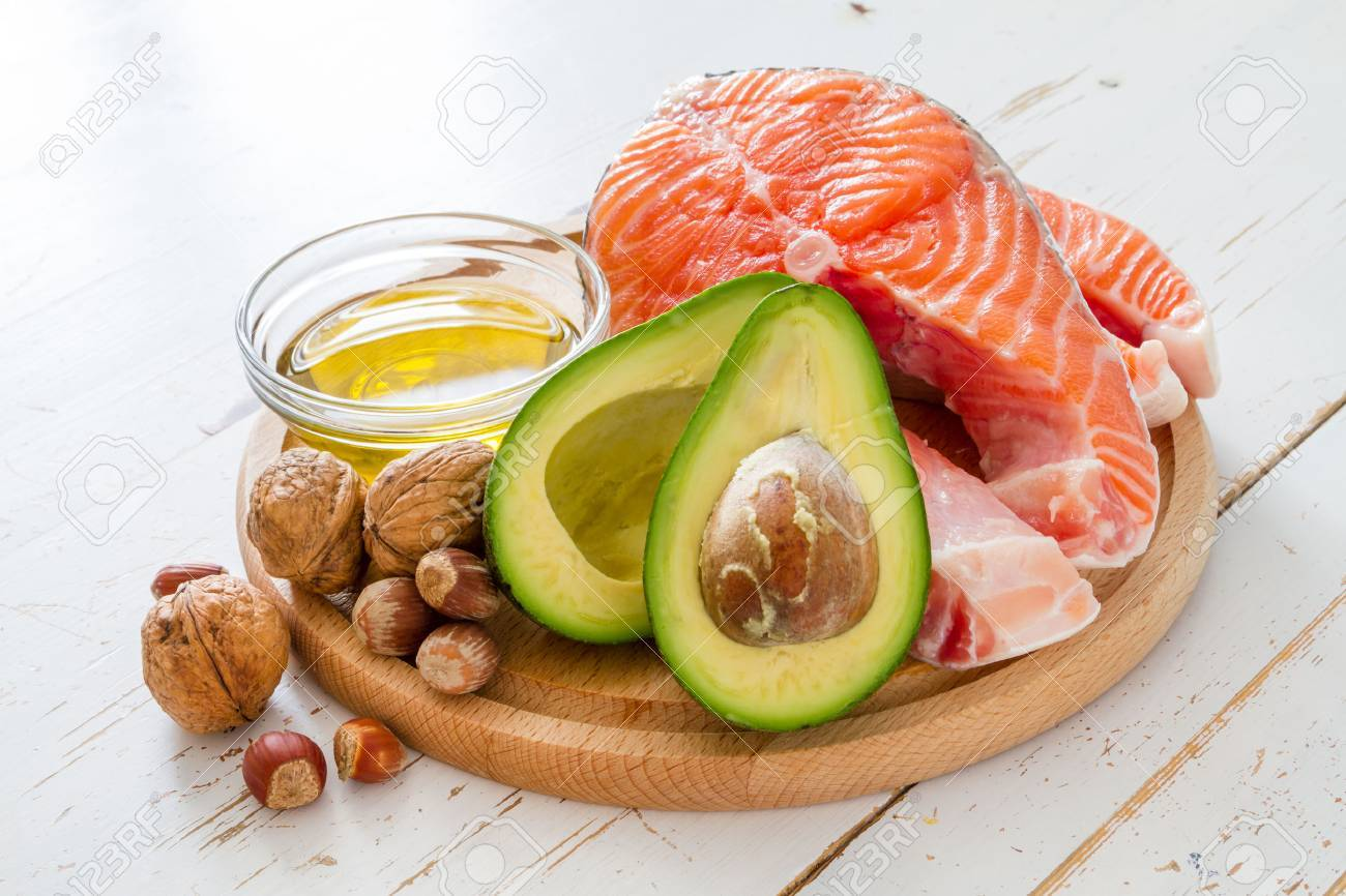 Selection of healthy fat sources, copy space Stock Photo - 54514935