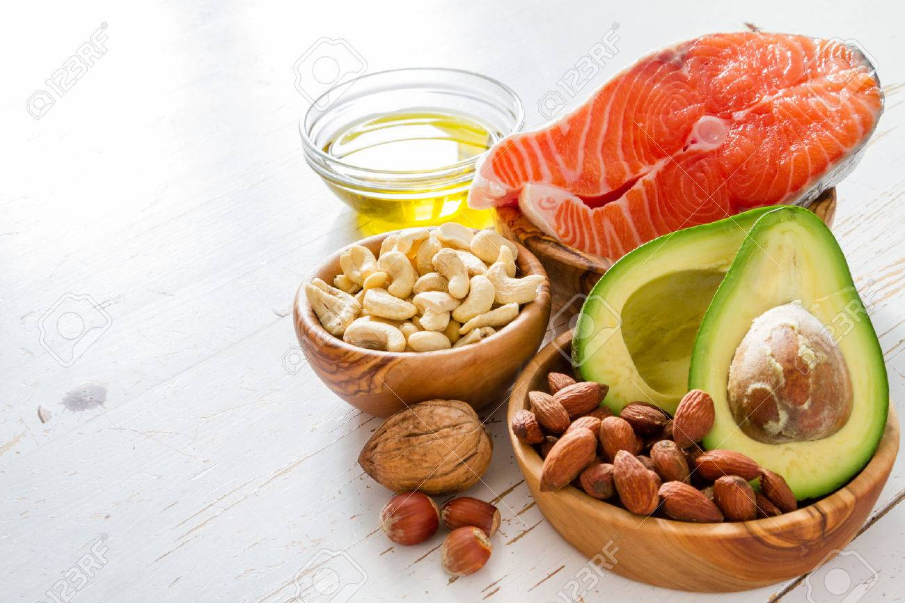Selection of healthy fat sources, copy space Stock Photo - 54514937