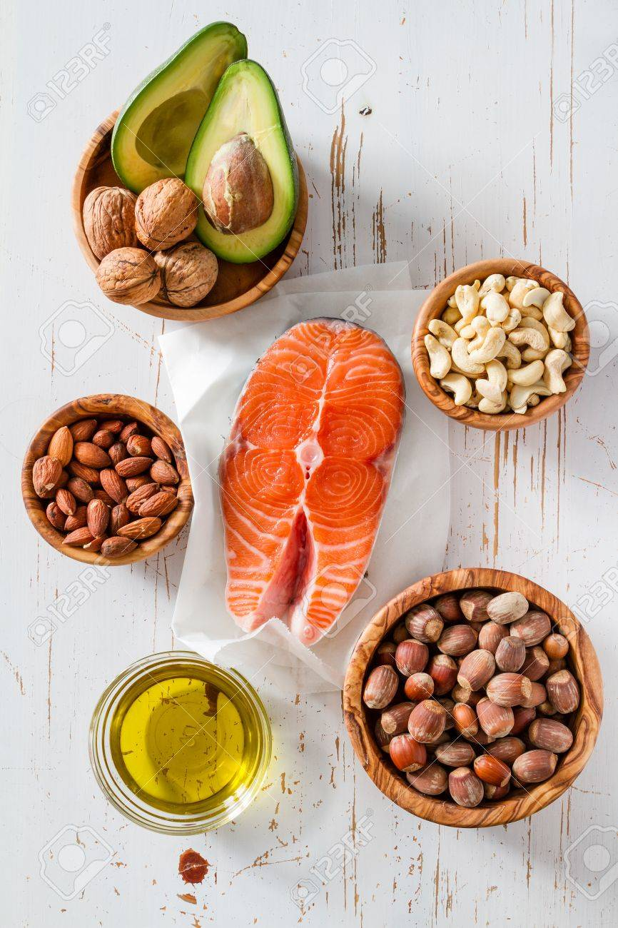 Selection of healthy fat sources, copy space Stock Photo - 54514880