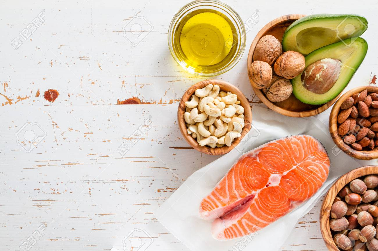 Selection of healthy fat sources, copy space Stock Photo - 54514883