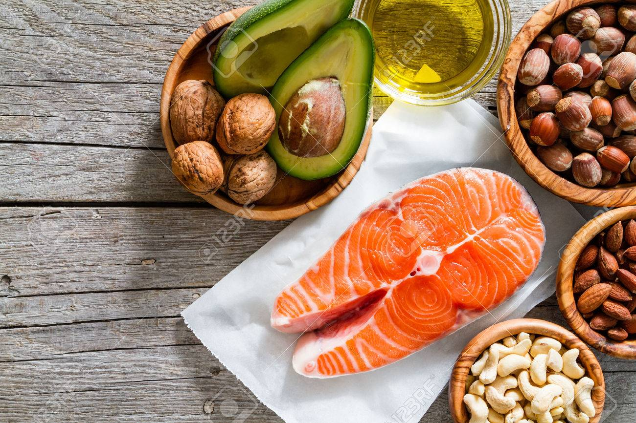 Selection of healthy fat sources, copy space Stock Photo - 54514884
