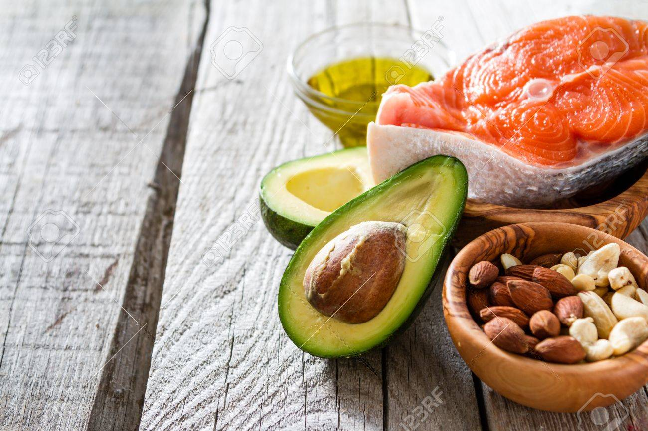 Selection of healthy fat sources, copy space Stock Photo - 54514881