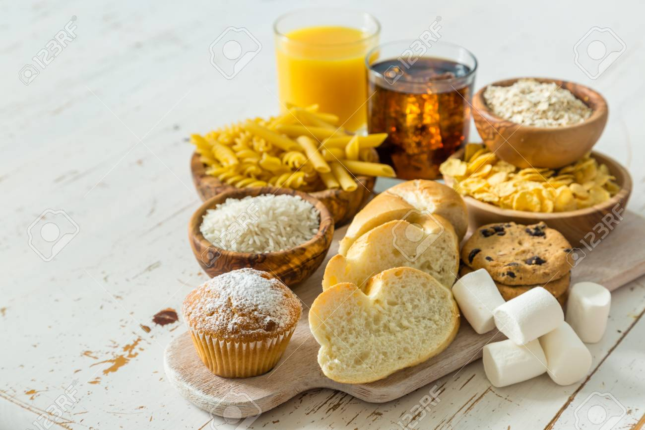 Selection of bad sources carbohydrates, copy space Stock Photo - 58154942