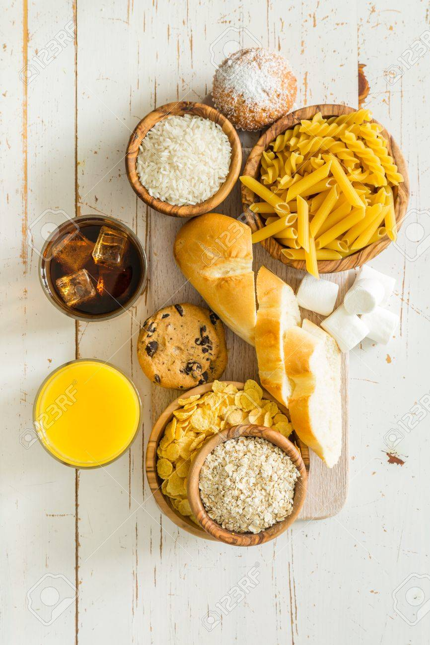 Selection of bad sources carbohydrates, copy space Stock Photo - 58154959
