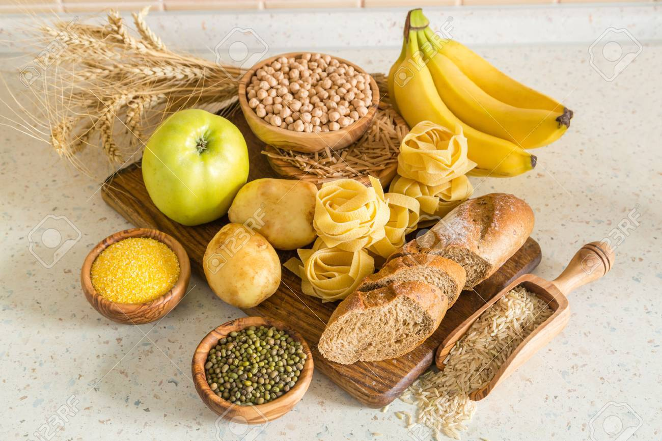Selection of comptex carbohydrates sources on wood background, copy space Stock Photo - 58154921
