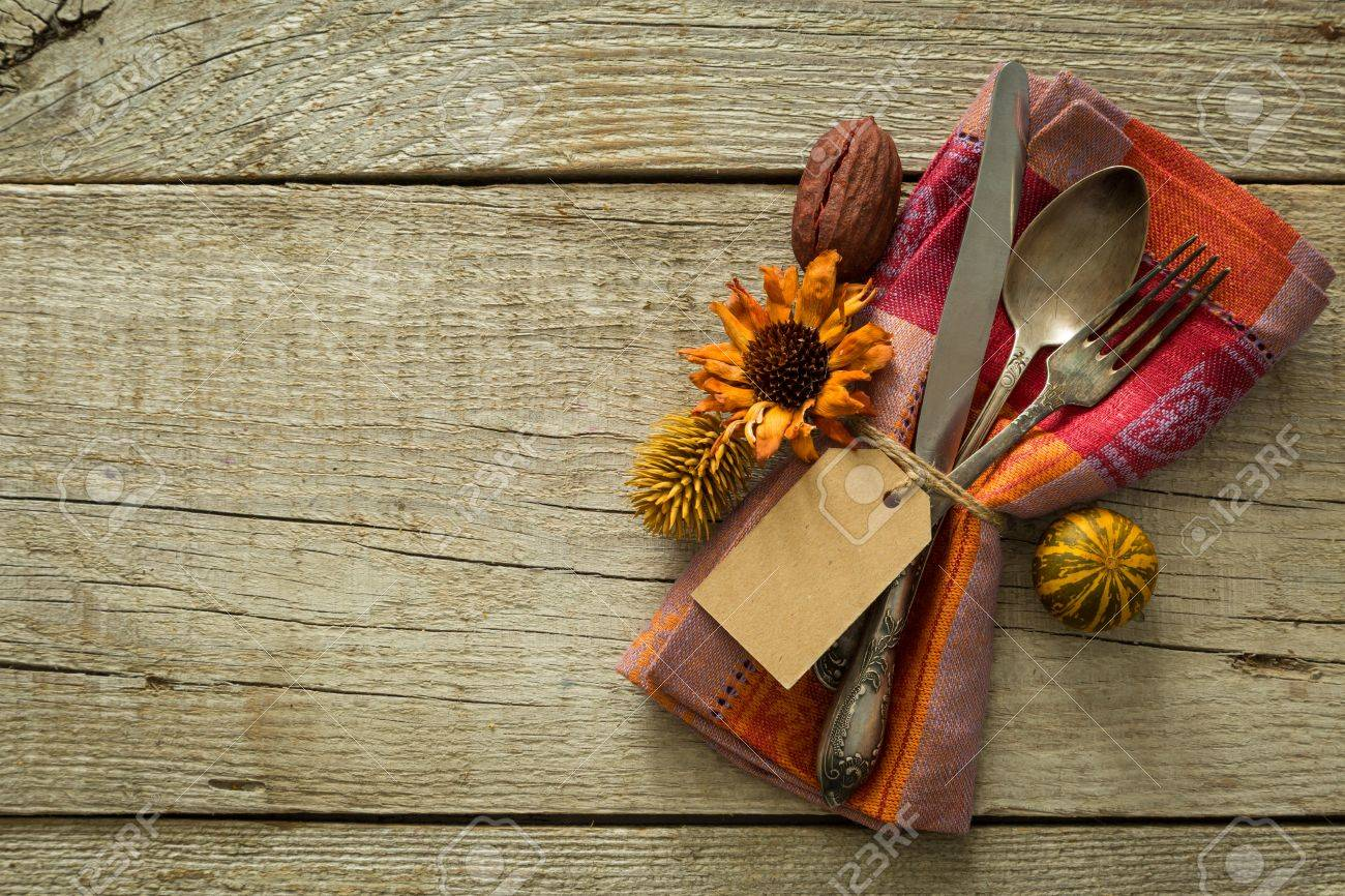 Autumn table setting on rustic wood background copy space Stock Photo - 60522800 & Autumn Table Setting On Rustic Wood Background Copy Space Stock ...