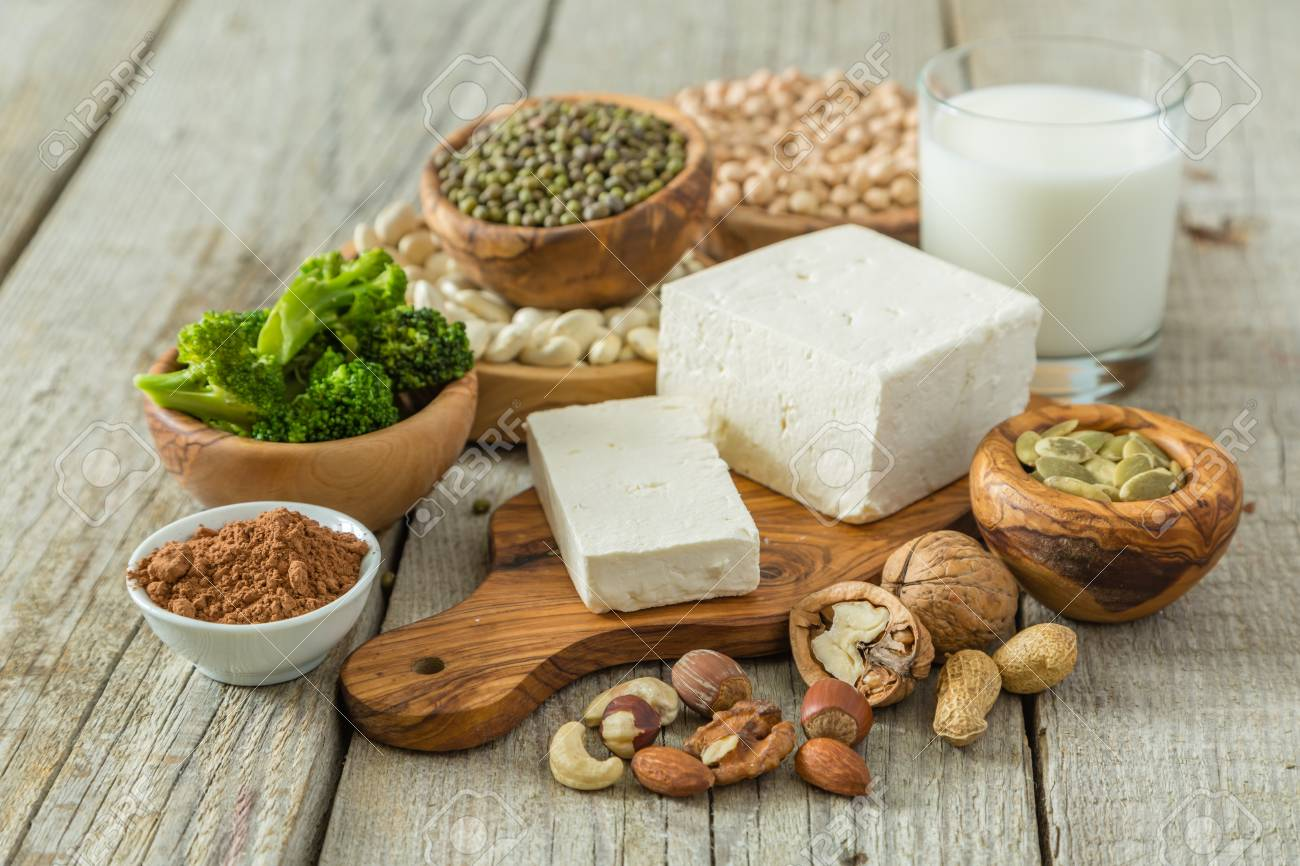 Selection vegan protein sources on wood background, copy space Stock Photo - 64449148
