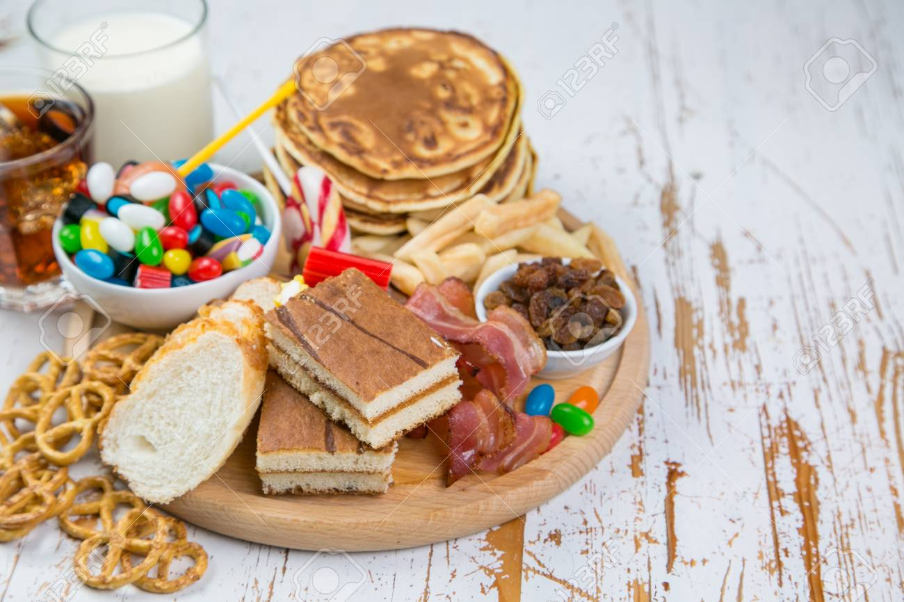 Selection of food that can cause diabetes, healthcare concept - 92286130