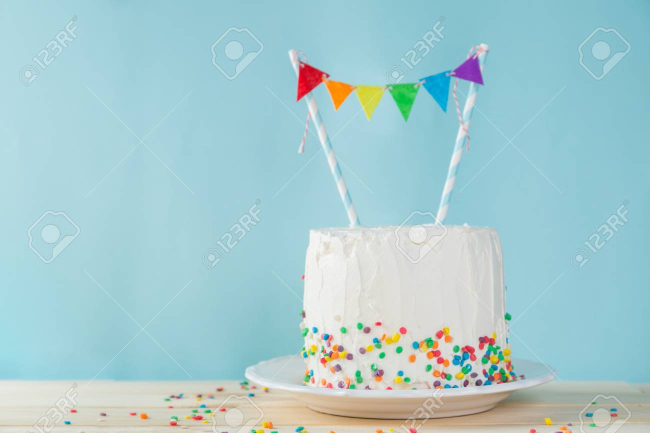 Awe Inspiring Birthday Background Striped Rainbow Cake With White Frosting Funny Birthday Cards Online Alyptdamsfinfo