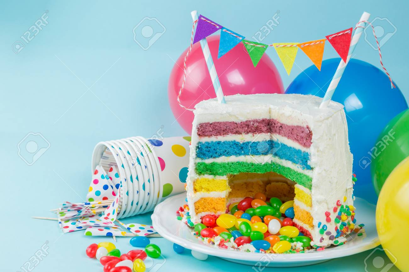Fine Rainbow Pinata Cake With Candies Birthday Background Card Funny Birthday Cards Online Elaedamsfinfo