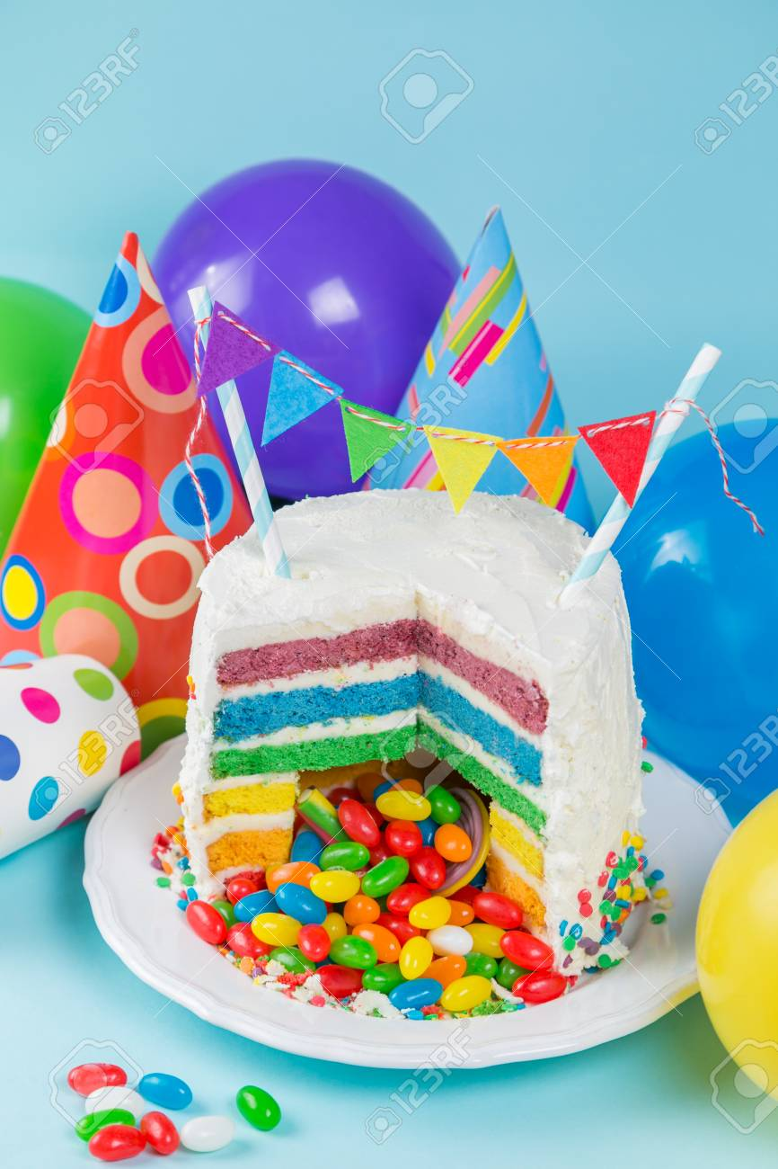 Incredible Rainbow Pinata Cake With Candies Birthday Background Card Funny Birthday Cards Online Alyptdamsfinfo