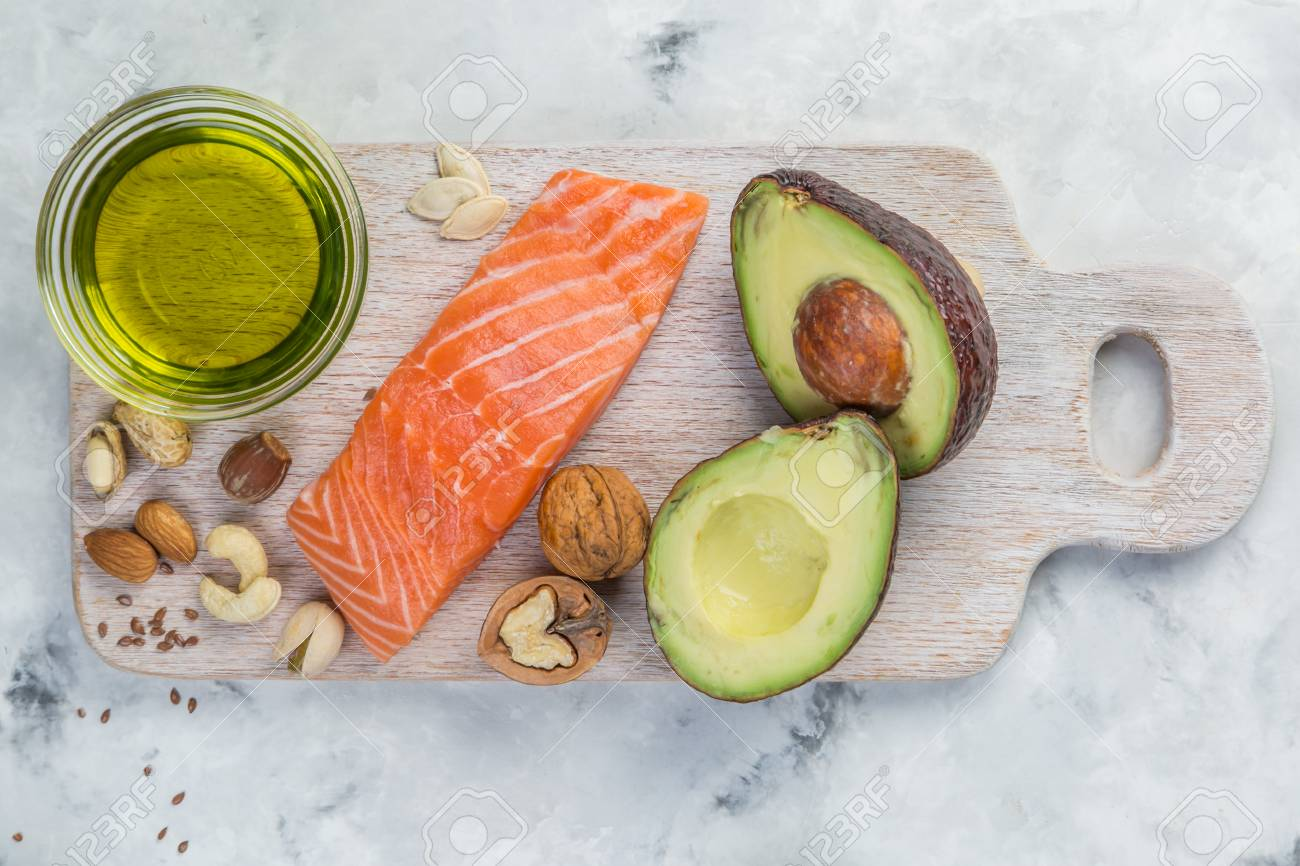 Selection of good fat sources - healthy eating concept. Ketogenic diet concept - 96626682